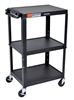 "Luxor 42"" Steel Adjustable Height AV Cart - 3 shelves (Luxor LUX-AVJ42)"
