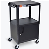 Luxor Adjustable Height Metal Cart With Cabinet (Luxor LUX-AVJ42C)
