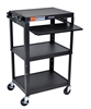 Luxor Adjustable Height Metal Cart With Keyboard Tray (Luxor LUX-AVJ42KB)
