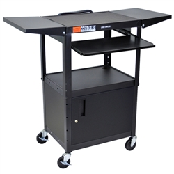 Luxor Adjustable Height Metal Cart With Keyboard - Black (Luxor LUX-AVJ42KBCDL)