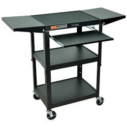 Luxor Adjustable Height Metal Cart With Keyboard (Luxor LUX-AVJ42KBDL)
