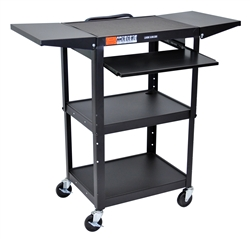 Luxor Adjustable Height Metal Cart With Keyboard  (Luxor LUX-AVJ42KBDL-BLACK)