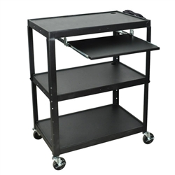 "Luxor 42"" Extra Large Steel Adj. Cart W/ Keyboard Shelf (Luxor LUX-AVJ42XLKB)"
