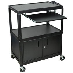 "Luxor 42"" Extra Large Cart W/ Keyboard Shelf & Cabinet (Luxor LUX-AVJ42XLKBC)"