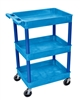 Luxor 3 Shelf Plastic Tub Cart, Blue (Luxor LUX-BUSTC111BU)