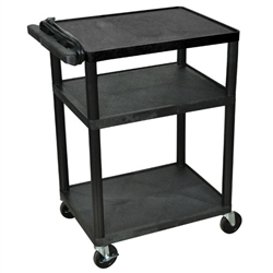 Luxor Adjustable AV Carts 3 Shelves (Luxor LUX-LP34E-B)