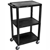 "Luxor Tuffy 42"" 3-Shelf Utility AV Cart  (Luxor LUX-WT42E-BLACK)"
