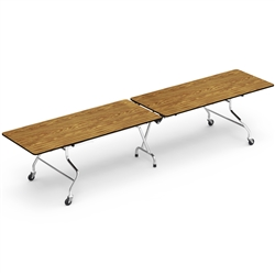 "Virco MT30144 - Mobile Cafeteria Table duofold, 30"" x 144"", black edge Banding  (Virco MT30144)"