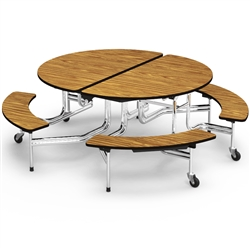 "Virco MTBO15275 Round Mobile Bench Table - 81"" L x 77"" W x 29"" H (Virco MTBO17295)"