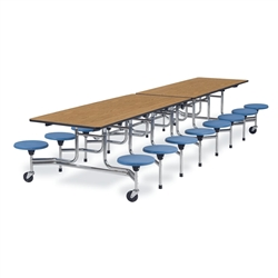 "Virco MTS15271216 - Mobile Stool Cafeteria Table 27""H x 30""W x 12""Long, 15"" high Stools with 16 Stools  (Virco MTS15271216)"