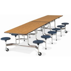 "Virco MTS17291012 - Mobile Stool Cafeteria Table 27""H x 30""W x 10""Long, 17"" high Stools with 12 Stools  (Virco MTS17291012)"