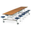"Virco MTS17291212 - Mobile Stool Cafeteria Table 27""H x 30""W x 12""Long, 17"" high Stools with 12 Stools  (Virco MTS17291212)"
