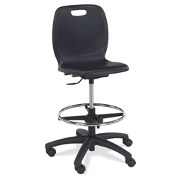 Virco N2 Series Height Adjustable Mobile Lab Stool (Virco N214)