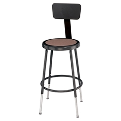 "NPS 19""-26 1/2""H Black Heavy-Duty Steel Stool with Backrest (National Public Seating NPS-6218HB-10)"