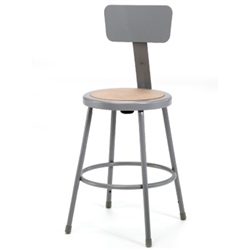 "NPS 24""H Stool with Hardboard Seat & Backrest  (National Public Seating NPS-6224B)"