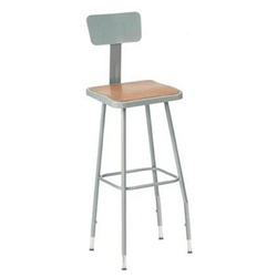 "NPS 19-27""H Adjustable Square Stool with Backrest  (National Public Seating NPS-6318HB)"