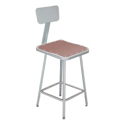 "NPS 24""H Square Stool with Hardboard Seat & Backrest  (National Public Seating NPS-6324B)"