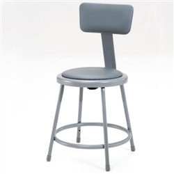 "NPS 18""H Stool with Padded Seat and Backrest  (National Public Seating NPS-6418B)"