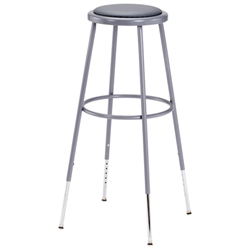 "NPS 31-39""H Adjustable Height Stool with Padded Seat  (National Public Seating NPS-6430H)"