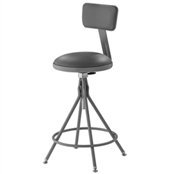 "NPS 24-28""H Adjustable Height Premium Swivel Stool with Backrest  (National Public Seating NPS-6524HB)"