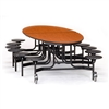 NPS 10' Elliptical Mobile Cafeteria Table -  12 Stools