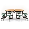 "NPS 60"" Round Mobile Cafeteria Table -  8 Stools"
