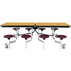 "NPS Mobile Cafeteria Table - 30"" W x 8' L - 8 Stools(National Public Seating NPS-MTS8)"
