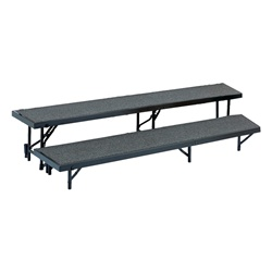 "NPS 2 Level Tapered Riser - 18""W x 60""L x 8""H and 18""W x 66""L x 16""H - Carpet  (National Public Seating NPS-RT2LC)"