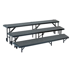 "NPS 3 Level Tapered Riser - 18""Wx60""Lx8""H and 18""Wx66""Lx16""H and 18""Wx72""Lx24""HHardboard  (National Public Seating NPS-RT3LHB)"
