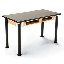 "NPS Acid Resistant Science Lab Table - Chem-Res Top - Dual Book Compartment(24"" W x 48"" L x 29-41"" H) (National Public Seating NPS-SLT2448AH-10-BC)"