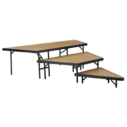 NPS Stage Pie Riser Set - Hardboard Deck - 3-Tier - 7'W x 9'L x 2'H <br> (National Public Seating NPS-SPST36HB)