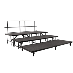 NPS Portable Seated Riser - Carpet Deck - 3-Tier - 8'W x 9'L x 2'H <br> (National Public Seating NPS-SBRC48C)