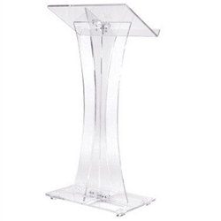 Oklahoma Sound Clear Acrylic Curved Style Clear Podium  (Oklahoma Sound OKL-471)