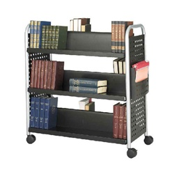 Safco Scoot Double Sided 6 Shelf Book Cart - Black  (Safco SAF-5335)