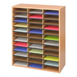 Safco Wood/Corrugated Literature Organizer, 36 - Medium Oak  (Safco SAF-9403)