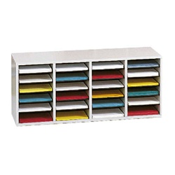 Safco Wood Adjustable Literature Organizer, 24 Compartment  (Safco SAF-9423)