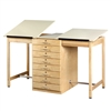 Shain Two Station Art/Drafting Table w/ 8 Drawers (Shain SHA-DT-82A)