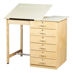 Shain Drawer Base Art/Drafting Table w/ AdjustableTop (Shain SHA-DT-8A)