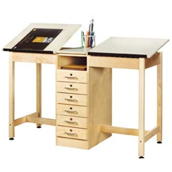 Shain Two Station Art/Drafting Table w/ Drawer Base (Shain SHA-DT-21A)