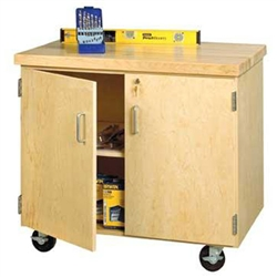 "Shain Enclosed Mobile Demonstration Cabinet, Maple Top - 36""W x 34""H (Shain SHA-EMDC-2436M)"