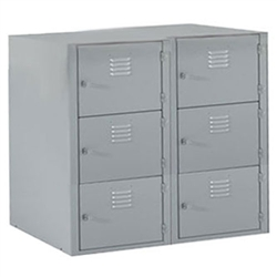 "Shain Metal Base 6 Horizontal Lockers - 36""W X 21""D (Shain SHA-LB-6A)"