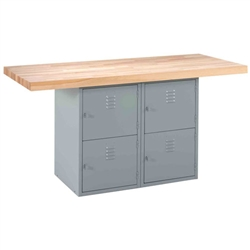 Shain Two-Station Workbench w/ 1 Vises - 4 Horizontal  Locker Base (Shain SHA-WBB4-1V)