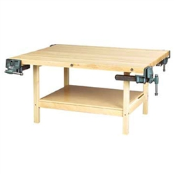 Shain Wooden Two Station Student Workbench w/ 2 Vises (Shain SHA-WW2-2V)