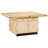 Shain Two Station Wood Workbench w/ 4 Doors And Drawers - 4 Vises (Shain SHA-WW32-4V)