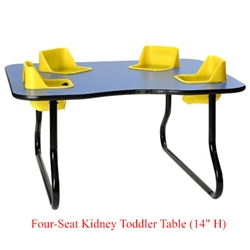 "Four-Seat Kidney Toddler Table - Space Saver (14"" H)  (Toddler Tables TOD-TT414SS)"