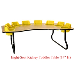 "Eight-Seat Kidney Toddler Table (14"" H)  (Toddler Tables TOD-TT814)"