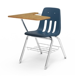 Virco-9700BR-ASAP - School Chair-Desk - Medium Oak Particle Board Top/Navy Seat/Chrome Frame  (Virco-9700BR-ASAP)