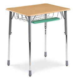 "Virco ZADJ2026BRTBHM - ZUMA® Student Desk, 20"" x 26-1/8"" Top, Book Basket & Pencil Tray, Backpack Hanger  (Virco ZADJ2026BRTBHM)"