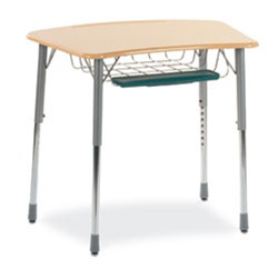 Virco ZADJ2031BRTM - ZUMA® Student Desk, Bowfront Top, Book Basket & Pencil Tray  (Virco ZADJ2031BRTM)