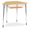 Virco ZHEXBRTM - ZUMA® Student Desk, Trapezoid Top for 6-Desk Groupings, Book Basket & Pencil Tray  (Virco ZHEXBRTM)
